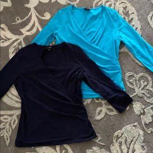 2 blue v-neck wrap shirts